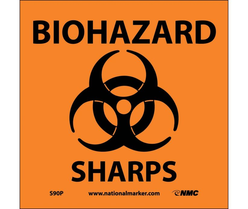 "S90P National Marker Sharps Biohazard Sign 7"" x 7"".004 Adhesive Backed Vinyl"