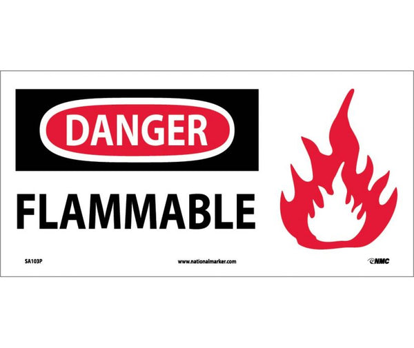 SA103 National Marker Chemical And Hazardous Material Safety Signs Danger Flammable