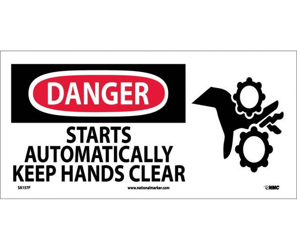 DANGER, STARTS AUTOMATICALLY KEEP HANDS CLEAR (W/ GRAPHIC), 7X17, PS VINYL