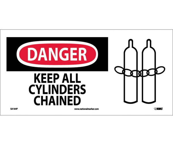 SA164 National Marker Chemical And Hazardous Material Safety Signs Danger Keep All Cylinders Chained