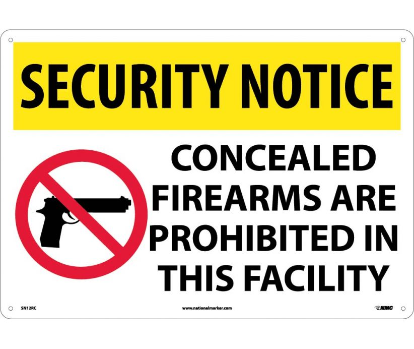 "SN12RC National Marker Concealed Firearms Are Prohibited In This Area Security Notice Sign 14"" x 20"".050 Rigid Plastic"
