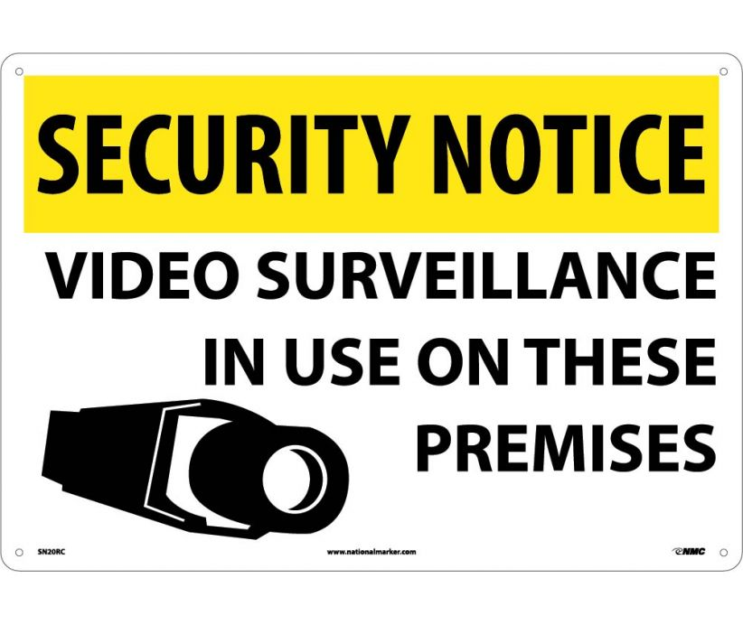 "SN20RC National Marker Video Surveillance  In Use On These Premises Security Notice Header Sign 14"" x 20"".050 Rigid Plastic"