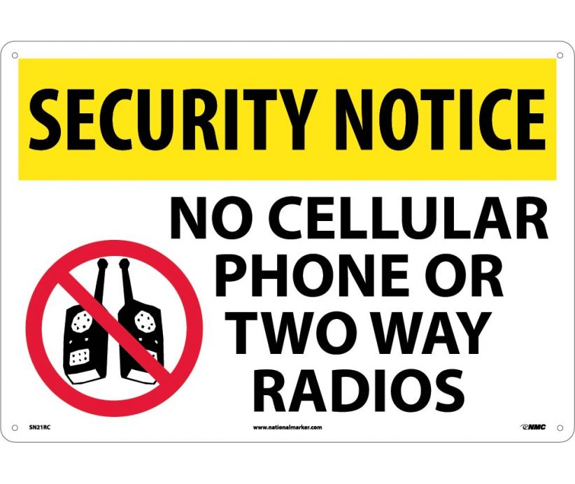 "SN21RC National Marker No Cellular Phone Or Two Way Radios Security Notice Header Sign 14"" x 20"".050 Rigid Plastic"
