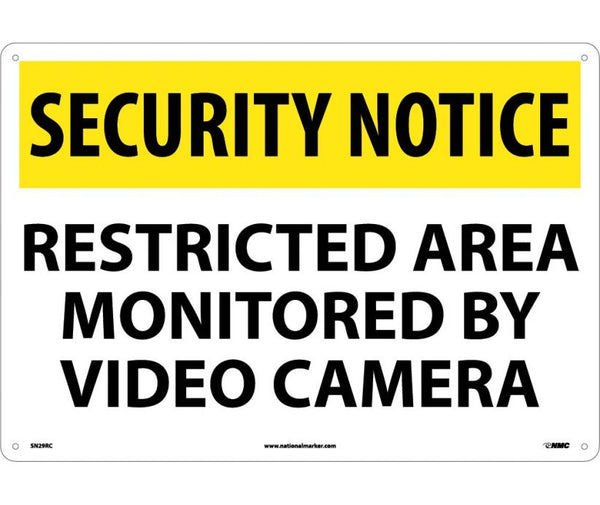SN29 National Marker Admittance and Security Signs Security Notice Restricted Area Monitored By Video Camera