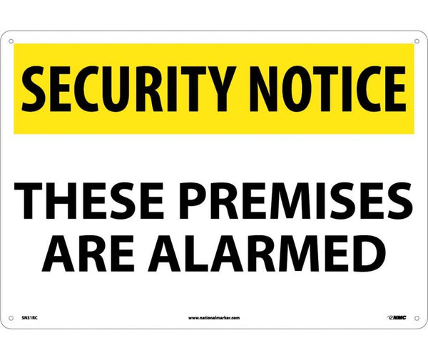 "SN31RC National Marker These Premises Are Alarmed Security Notice Header Sign 14"" x 20"".050 Rigid Plastic"