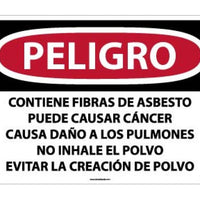 DANGER CONTAINS ASBESTOS FIBERS MAY CAUSE CANCER CAUSES DAMAGE TO LUNGS DO NOT BREATHE DUST AVOID CREATING DUST, 20 X 28, .040 ALUM