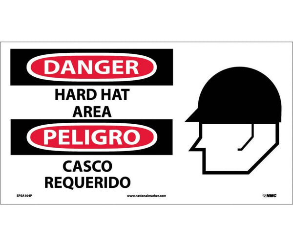 SPSA104 National Marker Bilingual English and Spanish Signs Danger Hard Hat Area