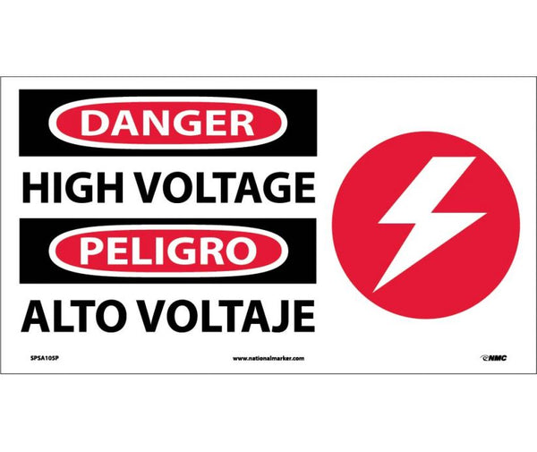 SPSA105 National Marker Bilingual English and Spanish Signs Danger High Voltage