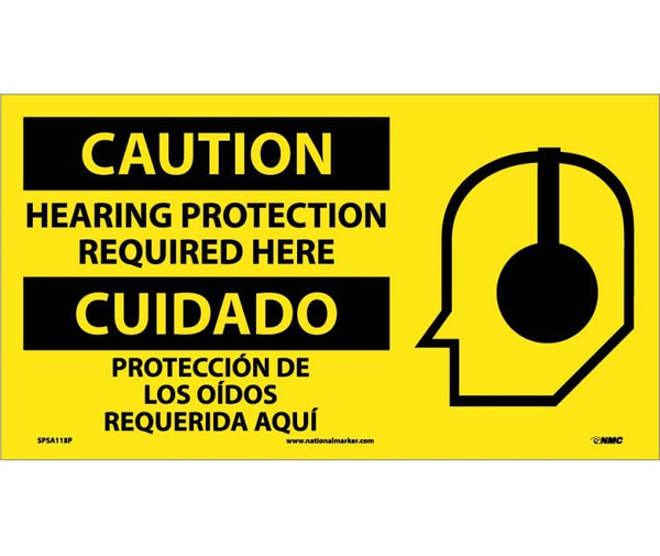 SPSA118 National Marker Bilingual English and Spanish Signs Caution Hearing Protection Required Here