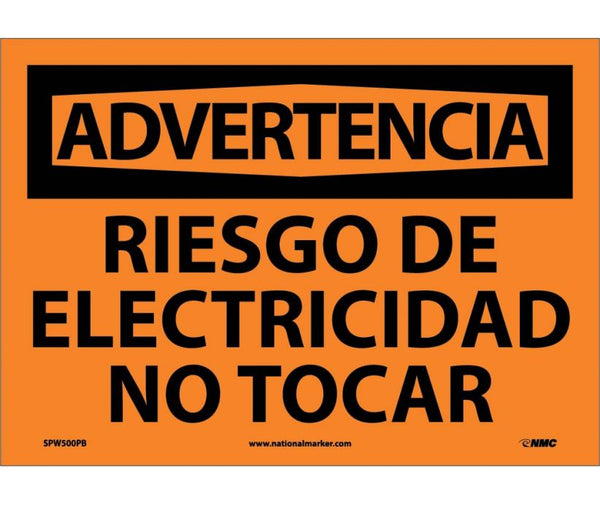 ADVERTENCIA, RIESGO DE ELECTRICIDAD NO TOCAR, 10X14, PS VINYL