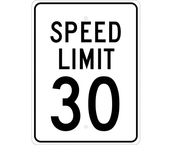 SPEED LIMIT 30, 24X18, .080 EGP REF ALUM