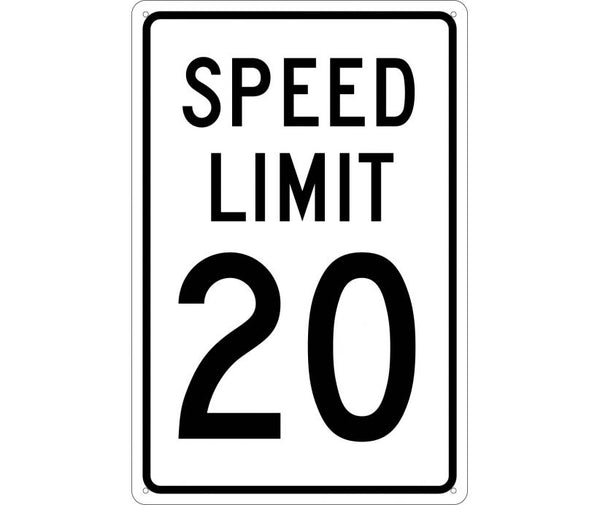 SPEED LIMIT 20, 18X12, .040 ALUM