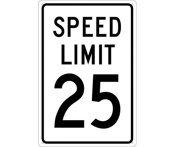 SPEED LIMIT 25, 18X12, .040 ALUM