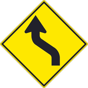 (ARROW GRAPHIC RIGHT) LANE SHIFT SIGN, 30X30, .080 HIP REF ALUM