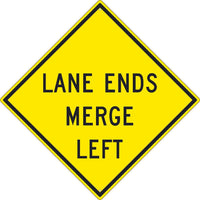 LANE ENDS MERGE LEFT SIGN, 30X30, .080 HIP REF ALUM