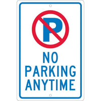 P WITH SLASH NO PARKING ANYTIME, 18X12, .063 ALUM
