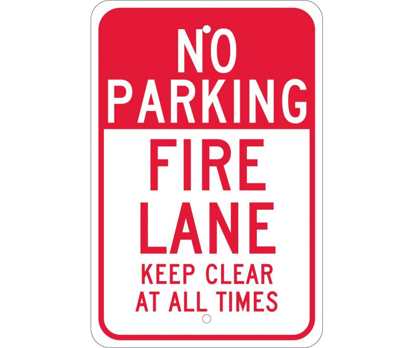 NO PARKING FIRE LANE KEEP CLEAR AT ALL TIMES, 18X12, .080 EGP REF ALUM