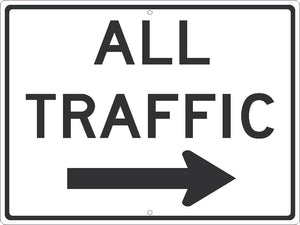 ALL TRAFFIC(GRAPHIC ARROW RIGHT) SIGN, 24X18, .080 HIP REF ALUM