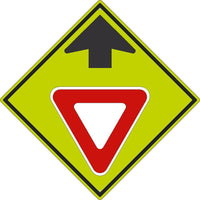 YIELD AHEAD(GRAPHIC WITH ARROW)SIGN, 30X30, .080 DG REF ALUM