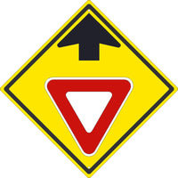 YIELD AHEAD(GRAPHIC WITH ARROW)SIGN,24X24,.080 HIP REF ALUM