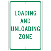 LOADING AND UNLOADING ZONE, 18X12, .063 ALUM