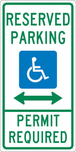 RESERVED PARKING PERMIT REQUIRED,24X12, .040 ALUM SIGN