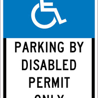 HANDICAPPED PARKING PERMIT ONLY, 18X12, .063 ALUM  SIGN