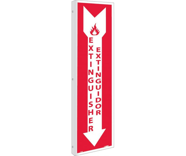 FLANGE, FIRE EXTINGUISHER BILINGUAL, 18X4, RIGID PLASTIC