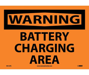 WARNING, BATTERY CHARGING AREA, 10X14, PS VINYL
