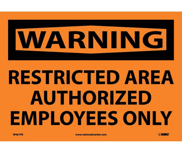W461 National Marker Admittance and Security Signs Warning Restricted Area Authorized Employees Only