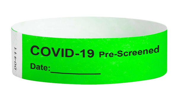 Covid-19 Pre-Screened Workplace Jobsite Health Screening Wristbands | WB02GR