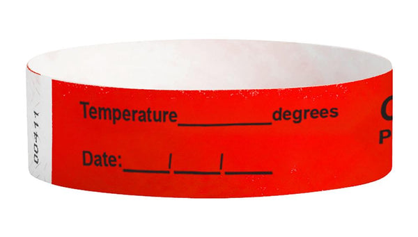 Temperature ____ Covid-19 Pre-Screened Workplace Jobsite Health Screening Wristbands | WB03RD