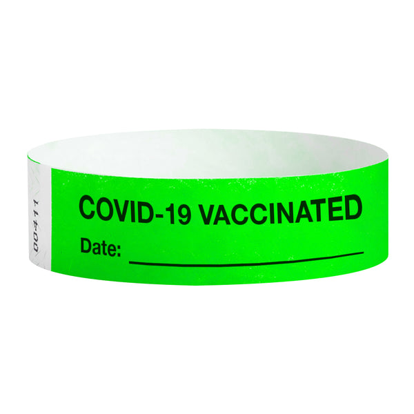 Covid-19 Vaccinated Date:XXXXXX Workplace Jobsite Health Screening Wristbands | WB05GR