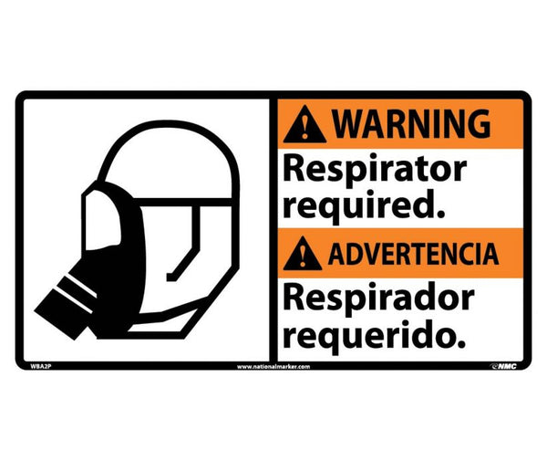 WBA2 National Marker Bilingual English and Spanish Signs Waring Respirator Required