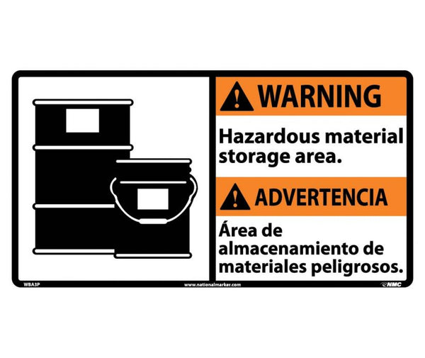 WBA3 National Marker Bilingual English and Spanish Signs Warning Hazardous Material Storage Area