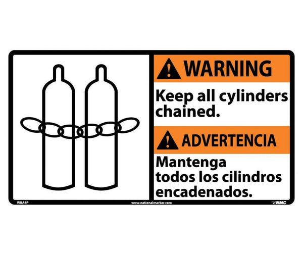 WBA4 National Marker Bilingual English and Spanish Signs Warning Keep All Cylinders Chained