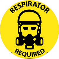 FLOOR SIGN, WALK ON, RESPIRATOR REQUIRED, 17 DIA, PS VINYL