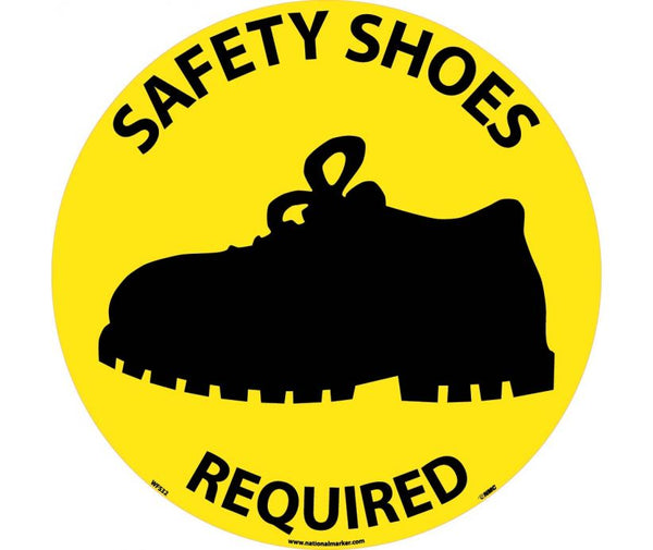 FLOOR SIGN, WALK ON, SAFETY SHOES REQUIRED, 17 DIA, PS VINYL