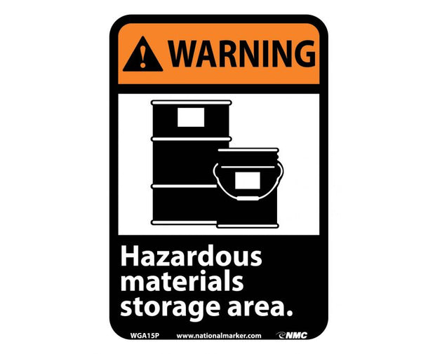 WGA15 National Marker Chemical and Hazardous Material Safety Signs Warning Hazardous Materials Storage Area