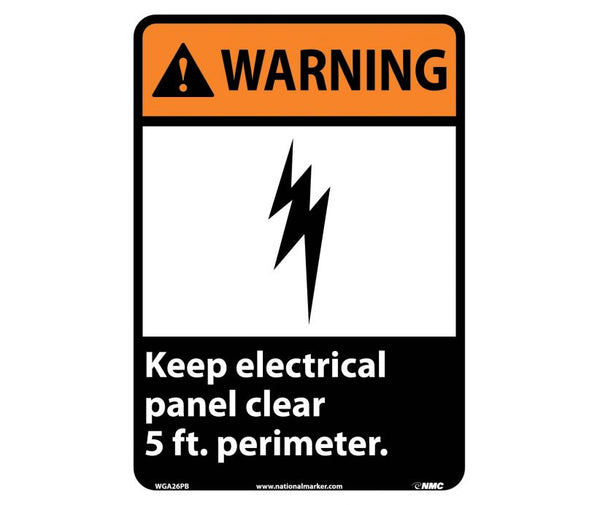 WARNING, KEEP ELECTRICAL PANEL CLEAR 5 FT. PERIMETER, 14X10, PS VINYL