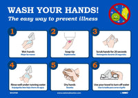"Wash Your Hands! The Easy Way To Prevent Illness Safety Signs | WH5PBR | 10"" x 14"" 