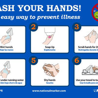 "Wash Your Hands! The Easy Way To Prevent Illness Safety Signs | WH5PR | 7"" x 10"" 