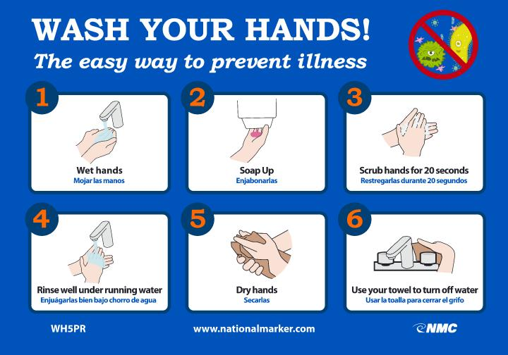 Wash Your Hands! The Easy Way To Prevent Illness Safety Signs | WH5PR | 7