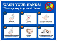 "Wash Your Hands! The Easy Way To Prevent Illness Safety Signs | WH5RB | 10"" x 14"" 