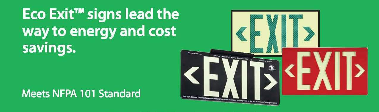 National Marker ECO Exit Signs - From Rutke Signs www.signslabelsandtags.com