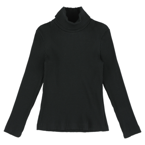 RIB BLACK TURTLENECK