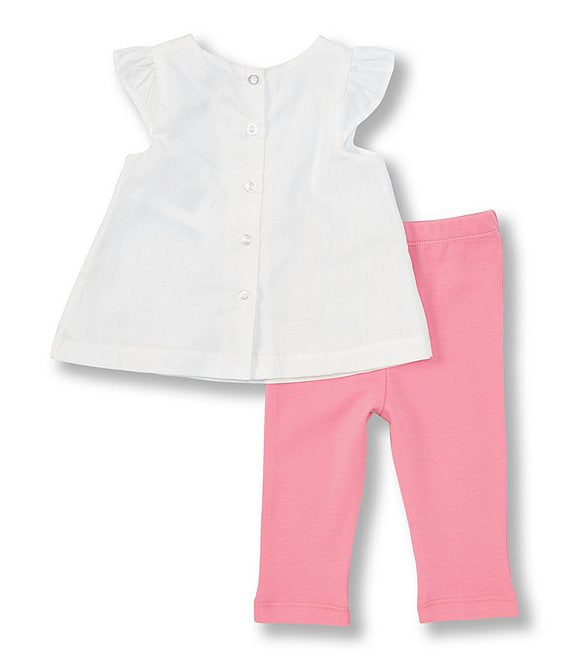 Little Me - Rosebud-Embroidered Woven Top & Solid Knit Leggings Set