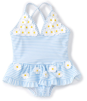 Little Me - Daisy-Appliqued Striped Skirted One-Piece Swimsuit