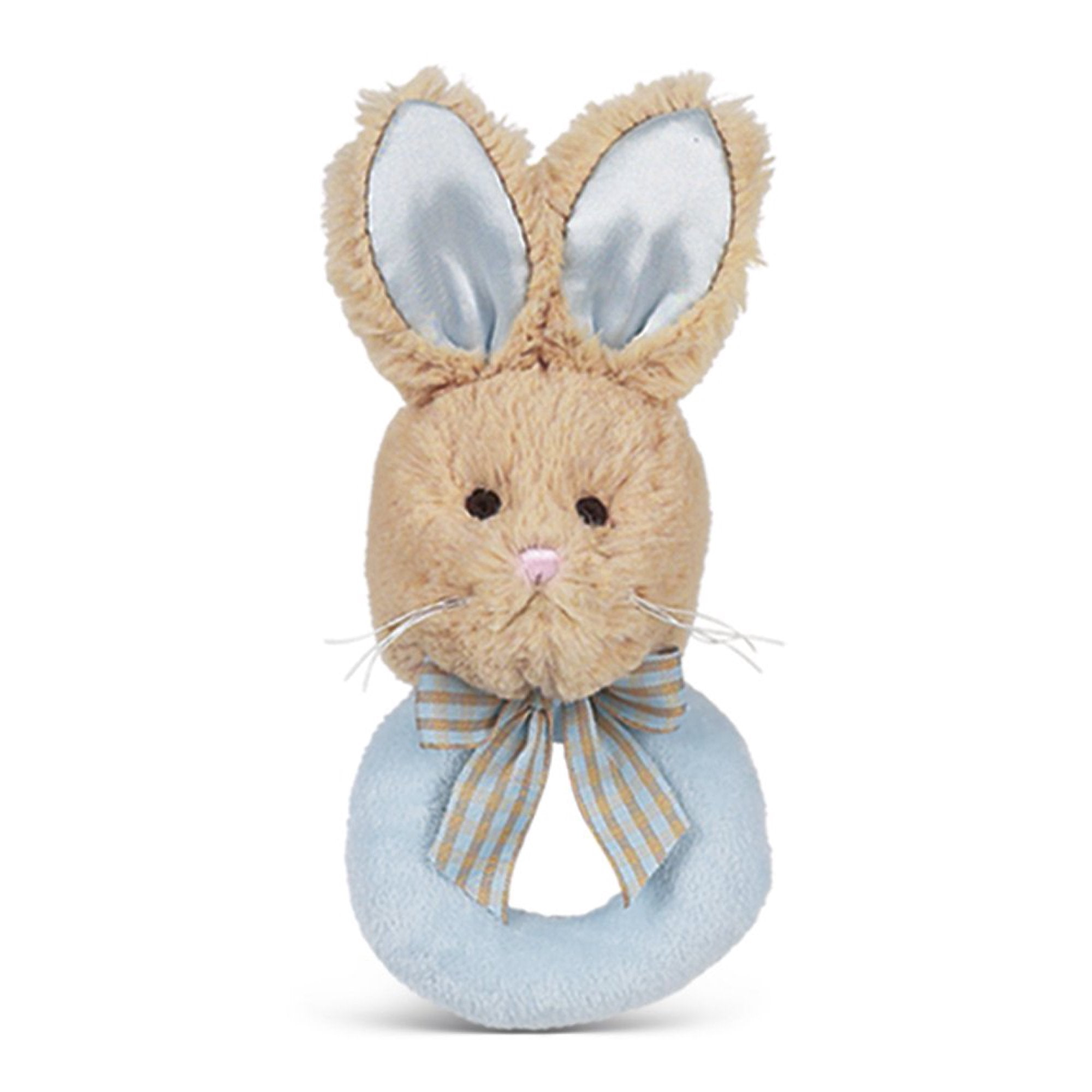 Bearington Baby - Lil' Bunny Tail Blue Plush Stuffed Animal Soft Ring Rattle, 5.5""