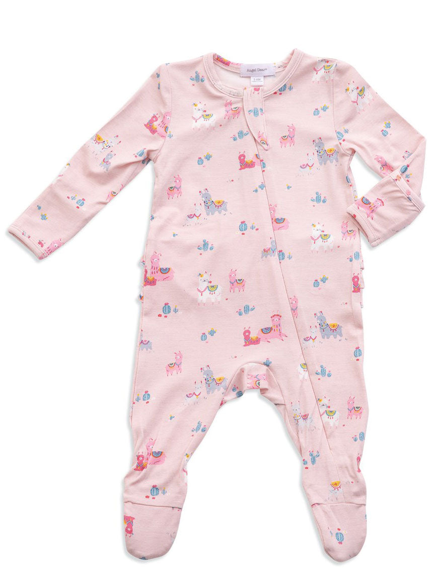 Angel Dear - Zipper Footie (Ruffle) in Pink Llamas